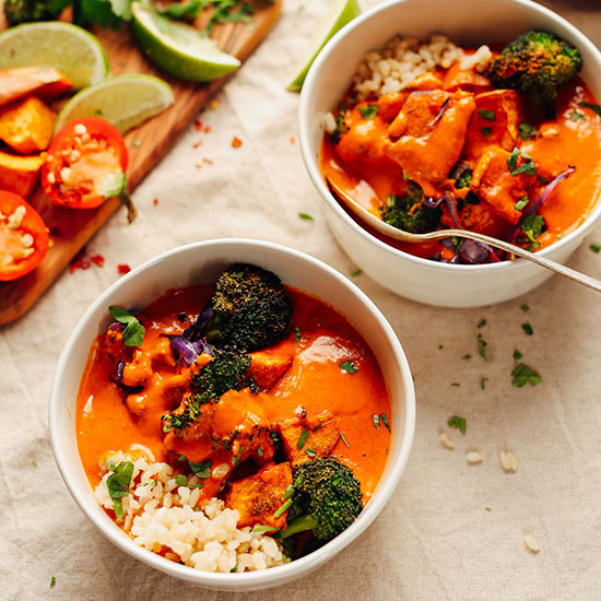 Rich Red Curry with Roasted Vegetables