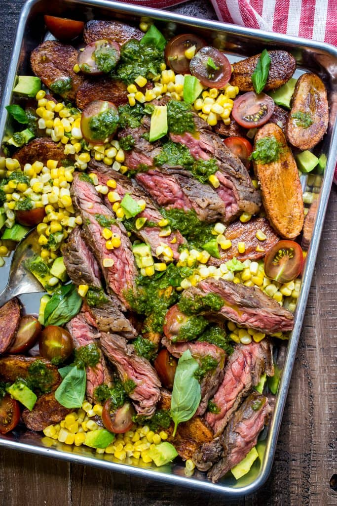 Steak and Potato Salad with Avocado, Corn and Tomatoes